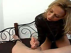 Blonde Gives A Tied Up Tattooed Guy Cfnm Handjob