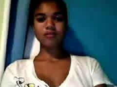 Mocha Teen Fucks Her Pussy With White Dildo