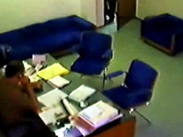 Boss copulates secretary after work on hidden spy