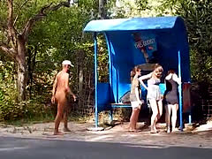 Completely Naked On The Bus Stop Cfnm
