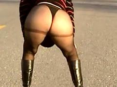 Big Ass Mature Walking On Street