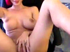 Busty cam babe with pink hair dildios her tight pussy