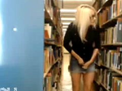 Naked In School Library On Webcam