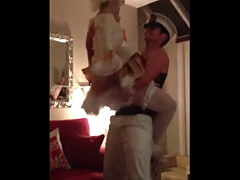 Costumed Busty Brit Rubs Down & Spanks Birthday Stripper