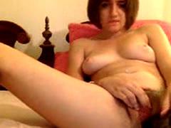 Hairy Webcam Slut Using Brushes for Dildos
