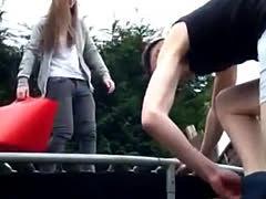 Cfnm Naked Ice Bucket Challenge On Trampoline