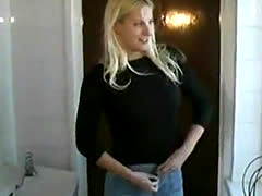 hot blonde pissing on the bathroom floor no big deal