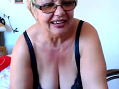 Granny with huge naturals on home webcam
