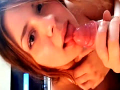 Cutest girl with cock in her mouth