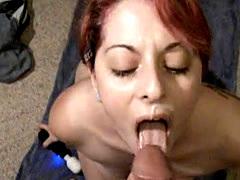 Great blowjob facial and swallow by beautiful redhead