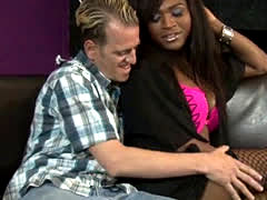 Ebony tranny Chanel Couture fucks a guy