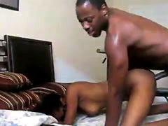 Dude ramming his ebony girlfriend hard