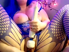 Curvy girl with big boobs playing with pussy
