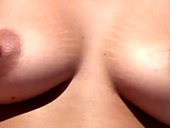 Beautiful big boobs Topless on Beach