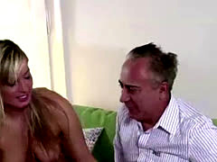 Blonde babe in stockings gets oral sex from older British guy