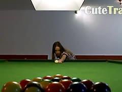 Killer lesbs in shoes on billiards
