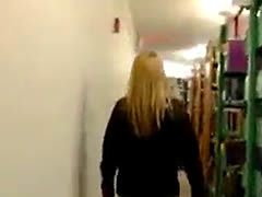 Blonde girlfriend gets fucked in a library