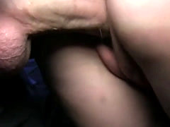 Blonde amateur gets creampie after fucking outdoor