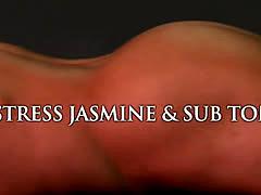 Busty mistress Jasmine fucking strapped sub Tony