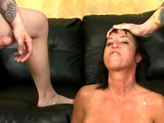 Fake Titty Brunette Slut Gagging During Rough Face Fuck