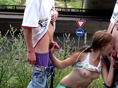 Young teen PUBLIC gangbang at a train station