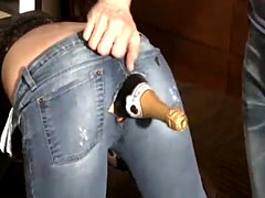 Shocking amateur fucks a champagne bottle in her ass