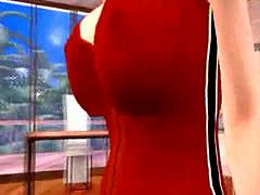 Big tit redhead strips