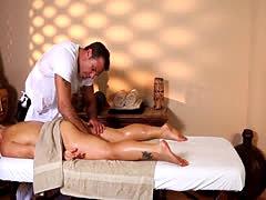 Blonde babe tits massaged