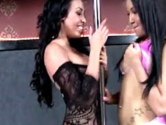 2 Stunning black sluts team to give a naughty show