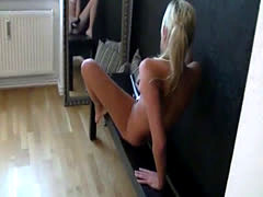 Blonde playing with her dildo and her boyfriend