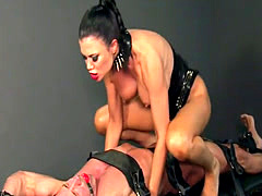 Gagged slave male gets flogged in dungeon