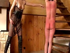 Mean mistress spanking tied up guy