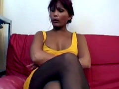 Hot African immigrant in pantyhose works as secretary
