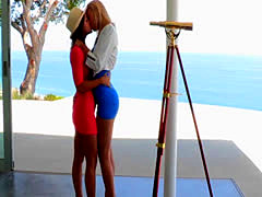 Real lesbian couple outdoors