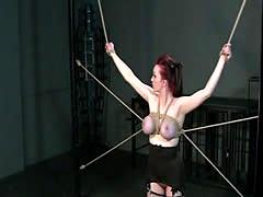 Redhead with tied up big tits bondage sucking