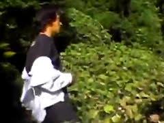 Perv makes petite Japanese schoolgirl blow his dick in public