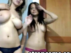 2 girls teasing on webcam
