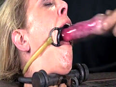 Busty restrained bdsm sub whipped