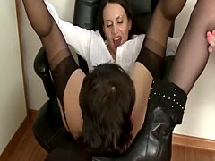 Guy tongue fucking femdom ass