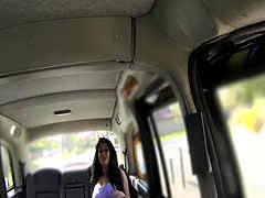 British bimbo get huge tits banged in cab