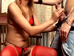 Sexy blonde TS Nahara fucking with dude