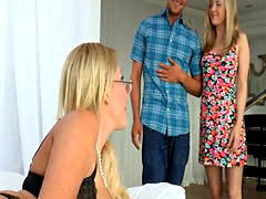 Horny teenage couple fucking with her older mature stepmom