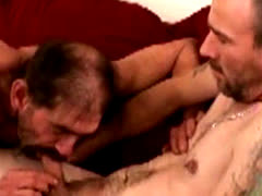Hairy gay biker sucking hard cock