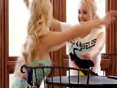 Busty blondie visits lesbian friend for her weekly massage