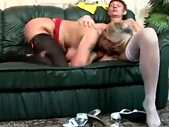 Blonde granny and old redhead lezzie play with each others filthy cunt