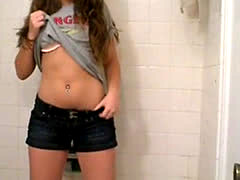 Pretty Teen dances in Bathroom