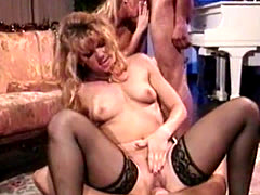 Two blonde pornstars fucked hard side by side