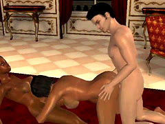 3D shemale blows a tranny while getting fucked
