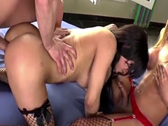 Lucky Guy Having A Threesome With Sexy Shemales