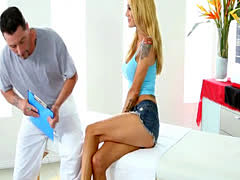 Blonde babe Sarah Jessie pussy fucked and jizzed by masseur